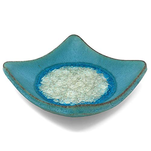 Dock 6 Pottery Wonton Dish with Fused Glass, Large, Turquoise