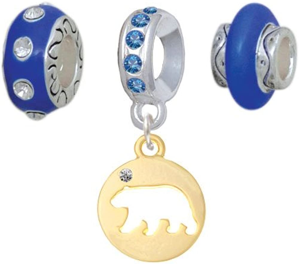 Set of 3 Bear Silhouette Blue Charm Beads