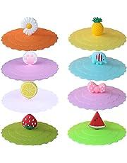 8 sztuk silikonowych pokrywek szklanych, odporne na wycieki, szczelne i przeciwpyłowe, pokrywki na szklanki, małe kubki do herbaty i kawy, do napojów piwa, kolorowe, wielokrotnego użytku, Strawberry Pineapple Watermelon (10 cm)
