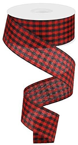 Wired Red Black Mini Check Lumberjack Christmas Ribbon, 1.5 Wide x 10 Yards