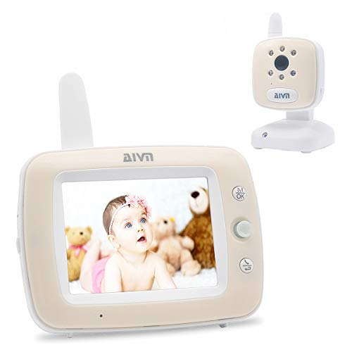 """AIVN Baby Monitor with Camera and Audio, 3.5"""" LCD Display, Infrared Night Vision, Two Way Talk Back,Temperature Monitoring, Lullabies and Long Range Review"""