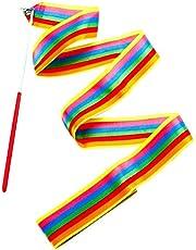 Regenboogband, dansbanden, streamer, 6 stuks, 2 meter, ritmische gymnastiek, voor kinderen, artistieke dansen, Baton wervelende training