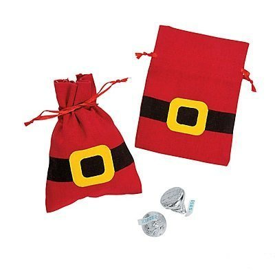 Christmas Holiday Red Canvas Santa Suit Drawstring Bags 1 Dozen