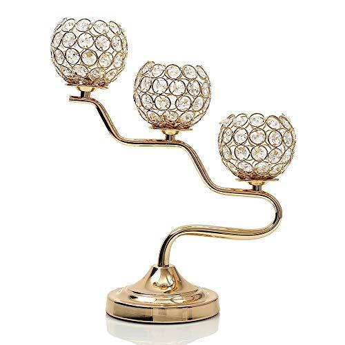 VINCIGANT Mothers Day Gold Crystal Candlestick Holders/Candelabra Centerpiece for Housewarming Home Decoration Gifts