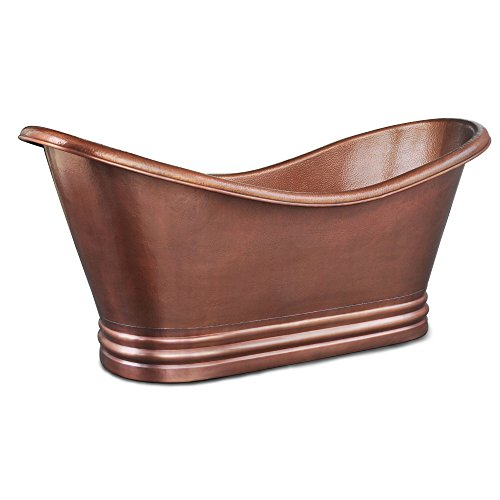 Sinkology TBT-7132HA Euclid Handmade Pure Solid Freestanding Double Slipper Bath Tub, 6', Antique Copper