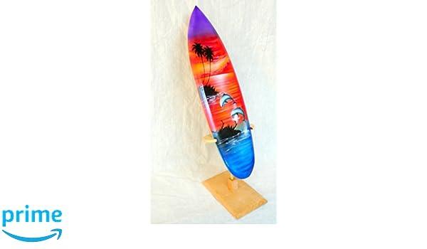 Deko Tabla de Surf SURF Madera onda Jinete Altura 30 cm, incluye soporte de madera: Amazon.es: Hogar