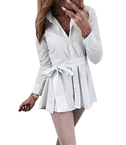 T Bianca Donna Camicia Bavero Lunghe Casual shirt Lunga Maniche Manica Con Onlyoustyle Da A 6dy4qO6W