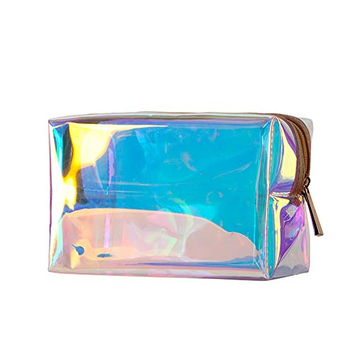 Holographic Makeup Bag Clear Transparent Cosmetic Bag Organizer Travel Large Iridescent Clutch Purse Toiletries Pouch Hologram Handbag Make-up Storage Cases for Women (Rectangular-Transparent)