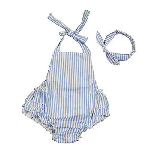 TangB Baby Girls' Rompers with Headband Sky Blue Striped M/12Months