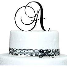 Monogram Inital Letter Acrylic Cake Topper Wedding A B C D E F G H I J K L M N O P Q R S T U V W X Y Z & (A, Black)