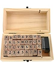 Alphabet Stamps Set,Vintage Wooden Rubber A-Z Letters and Numbers Diary Stamp Kit for Children DIY Scrapbooking Planner Card Making(36pcs)