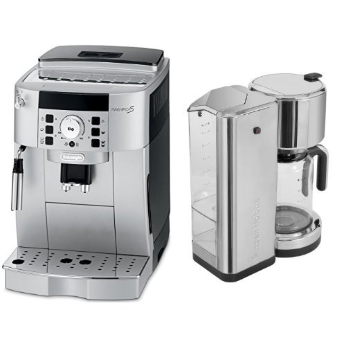 DeLonghi ECAM22110SB Compact Automatic Cappuccino, Latte and Espresso Machine and Russell Hobbs CM7000S 8 Cup Coffeemaker, Stainless Steel Bundle by DeLonghi
