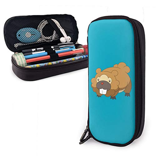Anime Beaver Leather Pencil Case Made of High-Grade PU Leather,Elastic Band Fixation,Portable Design,Convenient]()