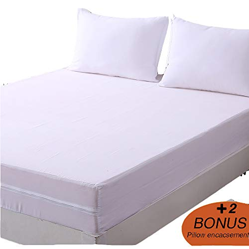 DOWNCOOL Zippered Mattress Encasement Cover- Include 2 Bonus Pillowcase- Bed Bug Proof, Dust Mite Proof, Breathable Six Sided Mattress Protector (9-12 deep, Queen)