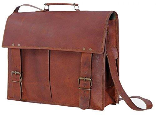 LeatherBagsNow Fashion Men Messenger Leather Shoulder Cross-body Bags-Light Brown