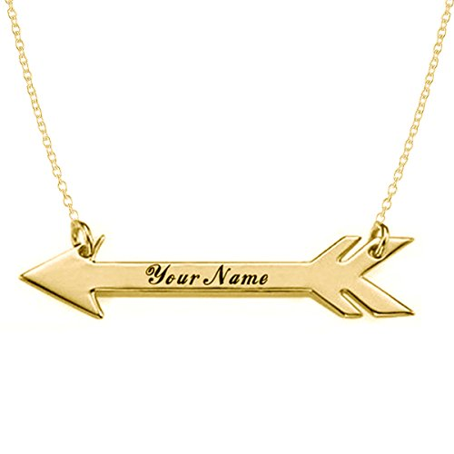 HACOOL Personalized Arrow Necklace in 18k Gold Plated - Custom Made with any Names (Arrow)