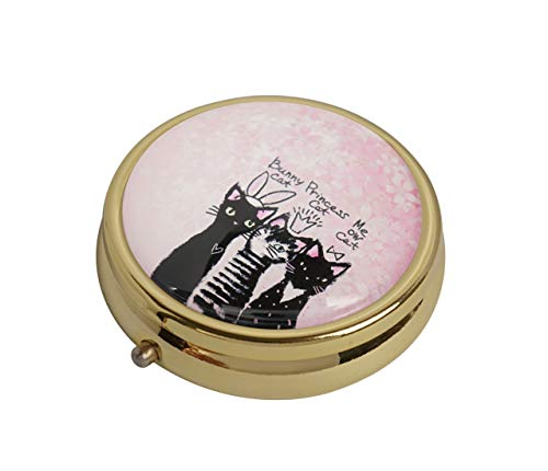 (Glasscase Pink Cherry Blossoms and Cute Cats Custom Glass Stainless Steel Gold Round Pill Case Medicine Vitamin Organizer Holder Case)