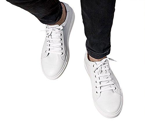 Genda 2archer Mens Réel En Cuir Casual Baskets Lacent Chaussures Blanches Solides