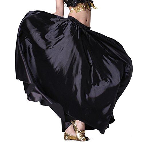MUNAFIE Belly Dance Satin Skirt Arabic Halloween Shiny Skirt Fancy Full Skirt US0-14 Black]()