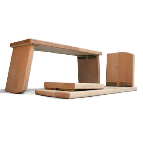 Lotus Design Meditationsbänkchen Meditation Yoga Massivholz Buche Klappbar 19cm