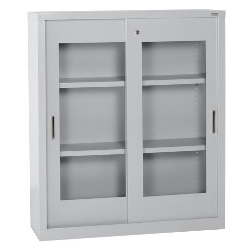 Sandusky Lee BV2S361842-05 Dove Gray Steel Clear View Storage Cabinet with Sliding Doors, 2 Adjustable Shelves, 42