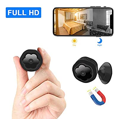 Mini WiFi Hidden Camera?Wireless Spy Camera HD 1080P Security Camera for Home Nanny Cam with Night Vision Motion Detection, Built-in Magnetic Fit Indoor Outdoor Recording by JCberry