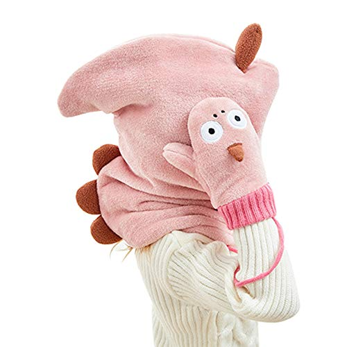 LOHOME Winter Kids Warm Cartoon Animal Hats with Gloves Coral Fleece Hood Scarves Skull Caps (D)