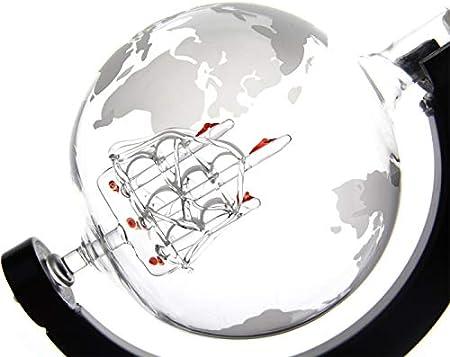 polar-effekt Decantador de cristal con barco de vela, globo terráqueo con mapa del mundo grabado, jarra con soporte de madera, botella de whisky con cierre hermético, 850 ml, idea de regalo