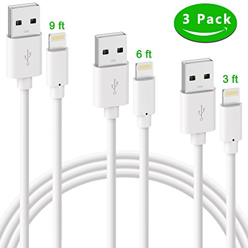 Price comparison product image iPhone Charger, ilikable 3 Pack 3ft 6ft 9ft Lighting Cable iPhone Charging Cord Cable for iPhone X 8 8 Plus 7 Plus 6s 6 Plus 5s SE iPod iPad Air Mini Pro-White