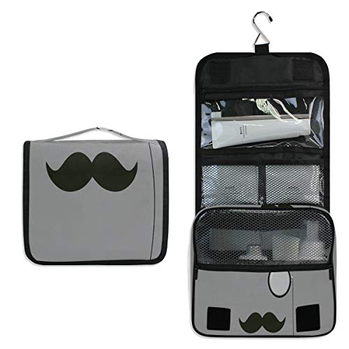 Toiletry Bag Hipster Mustache Magnifier Hanging Travel Toiletry Organizer Kit with Hook and Handle Waterproof Makeup Cosmetic Bag for Men or Women