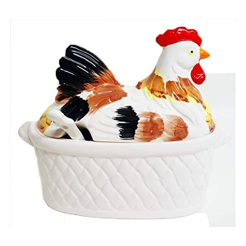 Japan Vintage 3-Piece White Ceramic Nesting Rooster/Hen On Basket Gravy Tureen w/Ladle 57/77-813 by Japan