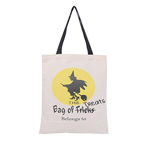 Charberry Halloween Candy Bag Gift Bag Canvas Tote Casual Beach Bags Shopping Bag Handbag (D)