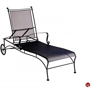 GRID Outdoor Wrought Iron Adjustable Mesh Chaise Lounge Patio L