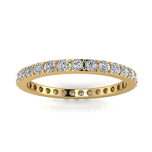 Jewelry Pop Up Shop Round Brilliant Cut Diamond Pave Set Eternity Ring In 18k Yellow Gold (0.83ct. Tw.) Ring Size 4.5, 3.6MM (Pave Set Band)