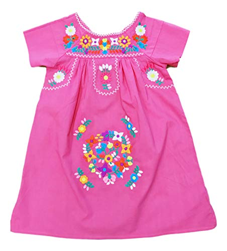 unik Traditional Mexican Girl Embroidered Dress Size 2 to 14 Navy White Pink Mint Coral