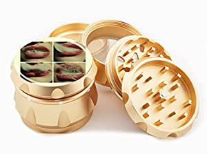 "Smoking Lips Design Premium Grade Aluminum Tobacco,Herb Grinder -4Pcs Large (2.5"" Gold) # GLD-G022115-075"