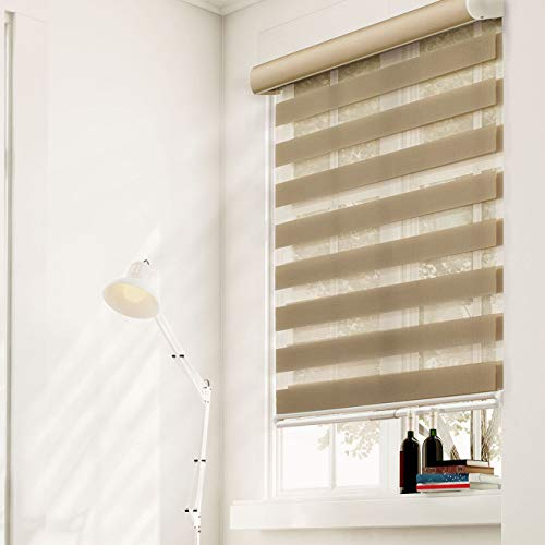 (CHICOLOGY Free-Stop Cordless Zebra Roller Shades Dual Layer Combi Window Blind 63