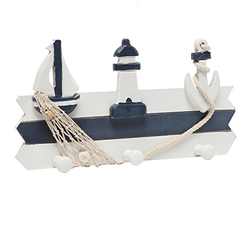 MyGift Nautical Design Wall-Mounted Wood 3-Hook Coat Rack, Storage Organizer
