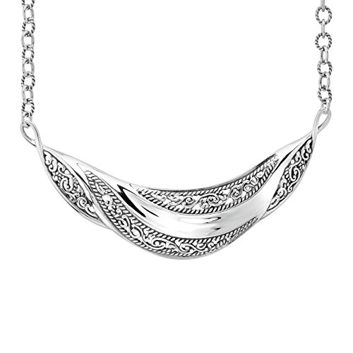 Carolyn Pollack Signature Genuine .925 Sterling Silver Filigree Smooth Necklace by Carolyn Pollack