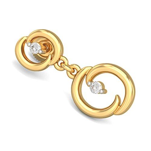 18K Or jaune 0.12CT TW White-diamond (IJ | SI) Pendants d'oreilles