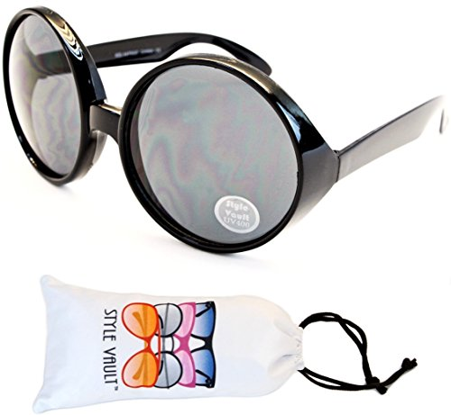 V3085-vp Style Vault 2 1/2 Lens Crazy Round Sunglasses (S2187V Black-Dark)