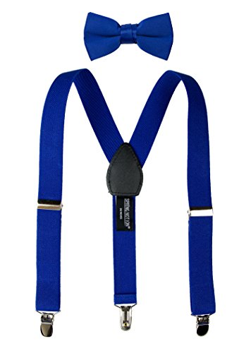 Spring Notion Boys' Suspenders and Solid Color Bowtie Set Royal Blue Medium