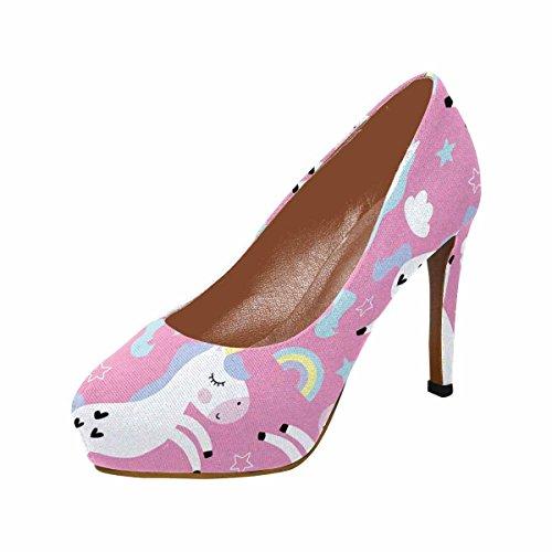 Illustrazione Di Modello Di Unicorno Carino Pompe Piattaforma Di Tacco Alto Di Interestprint Womens Classico