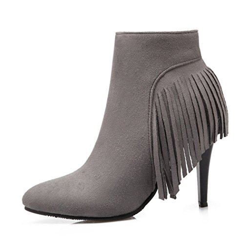 the high fine zip side Grey week ZQ boots Tip female the wild boots short shoes heeled and su boots for QX and sleek of xTACYTq