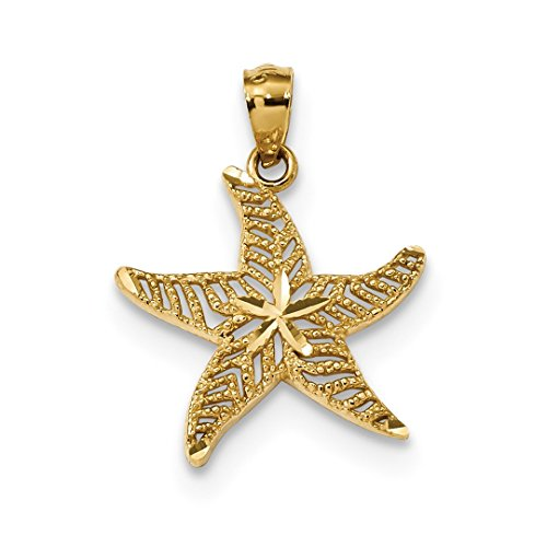 ICE CARATS 14kt Yellow Gold Filigree Starfish Pendant Charm Necklace Sea Life Fine Jewelry Ideal Gifts For Women Gift Set From (14k Gold Starfish Necklace)