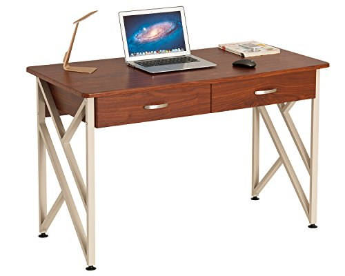 ProHT Small Computer Writing Desk with Two Drawers, Compact Writing/Drawing/Study/PC/Laptop Table,Computer Workstation Office Desk, CARB Certified (Walnut Ivory 05013A) by ProHT