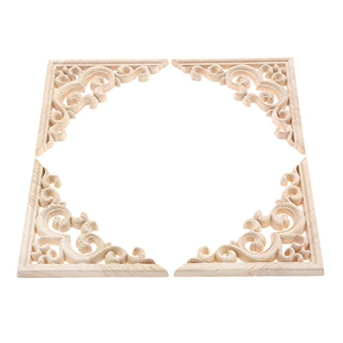 (4pcs Vintage Wood Carved Decal Corner Onlay Applique Frame Furniture Wall Unpainted for Home Cabinet Door Decor Craft)