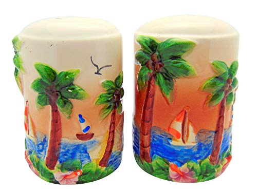 (Westman Works Tropical Paradise Salt and Pepper Shakers with Island Beach Scene Embossed Ceramic Cellar )