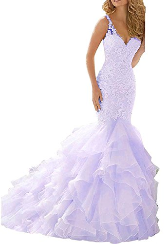 HIDRESS Women's Pleated Mermaid Wedding Gowns V-Neck Straps Ball Gowns BQ132 Size 12 Lavender