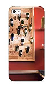 Fashion Tpu Case For Iphone 5c- Red Eclectic Kitchen With Wall-mounted Wine Rack Defender Case Cover
